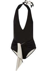 Stella Mccartney Ballet Belted Halterneck Swimsuit Black