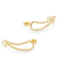 Vita Fede Teardrop Crystal Cuff Earrings Goldtone