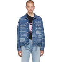 Vetements Blue Fully Branded Denim Jacket