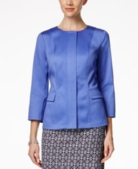 Charter Club Three Quarter Sleeve Front Zip Blazer Worldly Blue