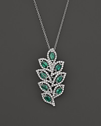Bloomingdale's Emerald And Diamond Leaf Pendant Necklace In 14K White Gold 18 Green White