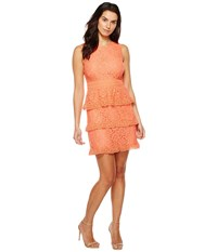 Cece Brea Sleeveless Floral Lace Coral Peony Women's Dress Orange