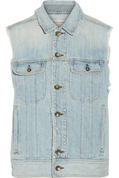 Rag And Bone Boyfriend Distressed Denim Vest Blue