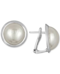 Majorica Sterling Silver Imitation Mabe Pearl Stud Earrings White