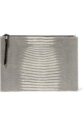 Opening Ceremony Lyo Lizard Effect Leather Clutch White