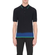 Lanvin Tie Dye Wool Polo Collar Navy Blue