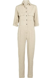 Finds Jesse Kamm Stretch Linen Blend Jumpsuit White