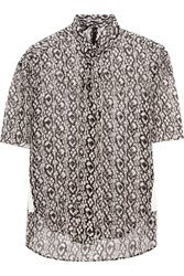 Giambattista Valli Grosgrain Trimmed Printed Silk Georgette Top Black