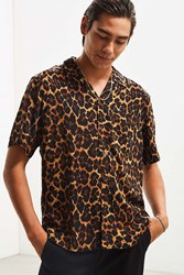 Urban Outfitters Uo Leopard Rayon Short Sleeve Button Down Shirt Brown