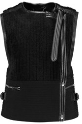 Chloe Leather Trimmed Shearling And Wool Blend Gilet Black