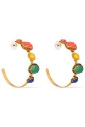 Elizabeth Cole Woman The Mena 24 Karat Gold Plated Crystal And Stone Hoop Earrings Gold