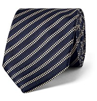 Dunhill 8Cm Striped Mulberry Silk Tie Navy