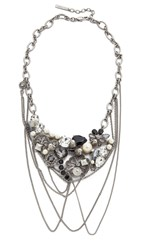 Marc Jacobs Statement Daisy Necklace Crystal Antique Silver