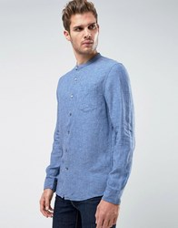 Kiomi Shirt In Blue With Grandad Collar In Chambray Cotton