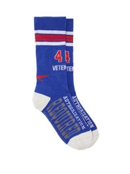 Vetements X Reebok Authorisation Required Intarsia Socks Blue