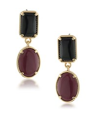 1St And Gorgeous Garnet Black Cabochon Double Drop Earrings Gold