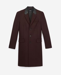 The Kooples Fitted Burgundy Wool Coat With Leather Collar