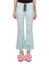 Marques Almeida Cropped Flared Lace Pants Turquoise