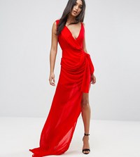 Lioness Wrap Front Maxi Dress Red