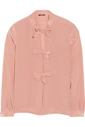 Raoul Bow Embellished Silk Satin Blouse Pink