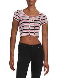 Design Lab Lord And Taylor Striped Cropped Top Black Red