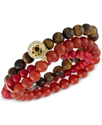 Rachel Roy Gold Tone Crimson Beaded Multi Row Stretch Bracelet