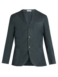 Boglioli Single Breasted Herringbone Wool Blazer Navy