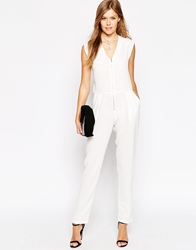 Liquorish Utility Jumpsuit With Zip Front Cream