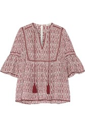 Talitha Gypsy Printed Silk And Cotton Blend Voile Blouse Plum