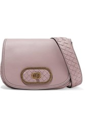 Bottega Veneta Luna Small Intrecciato Leather Shoulder Bag Antique Rose