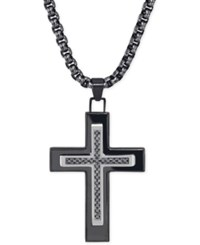 Esquire Men's Jewelry Black Diamond 1 10 Ct. T.W. Cross Necklace In Black Ip Over Stainless Steel Only At Macy's