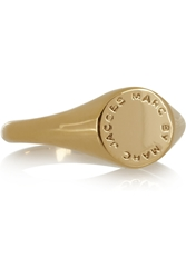 Marc By Marc Jacobs Embossed Gold Tone Signet Ring