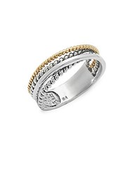 Effy 18K Yellow Gold And Sterling Silver Braided Ring