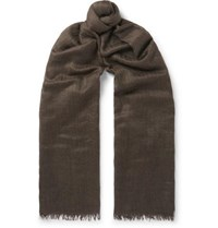 Begg And Co Staffa Fringed Cashmere Silk Blend Scarf Brown