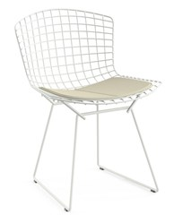 Knoll Bertoia Side Chair With Seat Cushion K16220 Classic Boucle Neutral Nylon Wool Blend C Polished Chrome Multicolor
