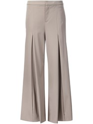 Ralph Lauren Flared Pleated Trousers Nude And Neutrals