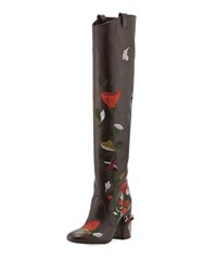 Laurence Dacade Silas Embroidered Leather Knee Boot Brown Pattern