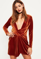 Missguided Orange Velvet Wrap Dress Teal
