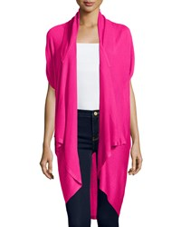Neiman Marcus Drape Front Short Sleeve Cardigan Hot Pink