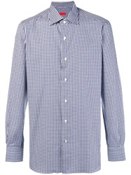 Isaia Gingham Button Shirt Blue