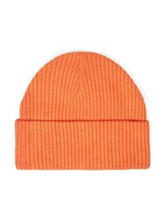 Topman Orange Ribbed Beanie Hat