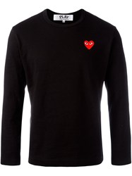Comme Des Garcons Play Embroidered Heart T Shirt Black