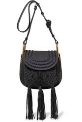 Chloe Hudson Small Whipstitched Leather And Suede Shoulder Bag Black