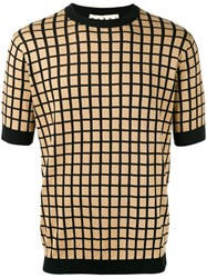 Marni Grid Print Short Sleeve Jumper Nude Neutrals