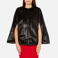 Michael Michael Kors Women's Reversible Faux Fur Cape Black