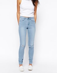 Pieces Light Blue Funky Frigg Skinny Jeans With Ripped Knees Lightblue