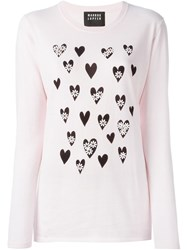 Markus Lupfer Beaded Flower Hearts Print Jumper Pink And Purple