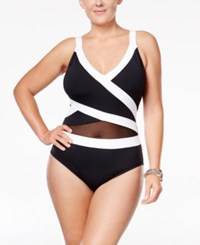 Anne Cole Plus Size Striped Halter One Piece Swimsuit Women's Swimsuit Black White
