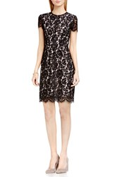 Vince Camuto Women's Short Sleeve Scallop Lace Sheath Dress Rich Black