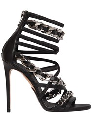 Balmain 110Mm Diva Chained Leather Sandals Black